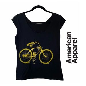American Apparel Black Yellow Bicycle Graphic Tee